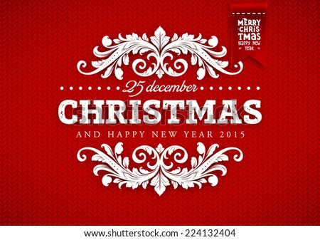 red knitted background christmas label holiday stock vector royalty