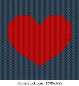 Red Knitted Heart on Dark Blue Background. Valentines Day Card.