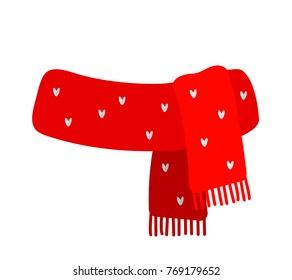 Red knitted scarf with a drawing. Flat Vector Illustration Isolated On White Background