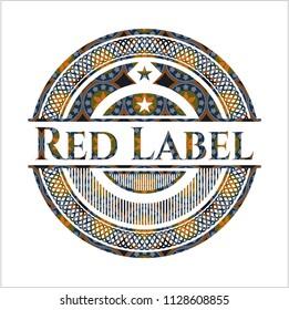 Red Label arabic badge. Arabesque decoration.