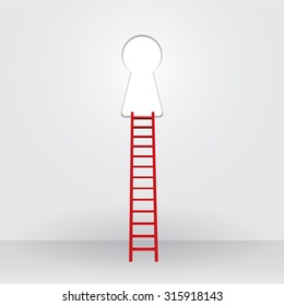 Red ladder up to the key hole success Business
