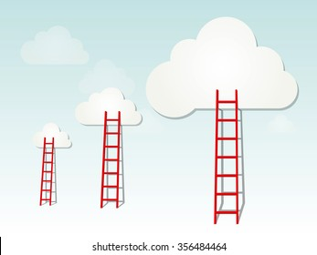 Red ladders to the clouds, idea competition concept illustration on light background, copy space