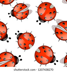 Red ladybug in a seamless pattern