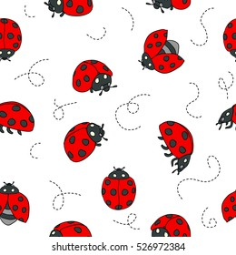 Red Ladybugs and lines cartoon seamless pattern isolated on a white background