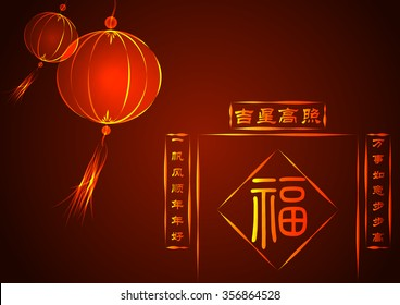 "Red lanterns for the chinese new year, ""fu"" means ""happiness"". Spring Couplets, a Chinese New Year decoration means ""blessing for good health, goodluck, fortune and happy new year"""