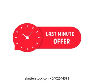 red last minute offer sticker. flat cartoon trend modern simple promotion logotype graphic design isolated on white background. concept of have time to buy at a bargain price and week sale