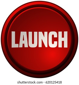 Red Launch Button, Vector Illustration.