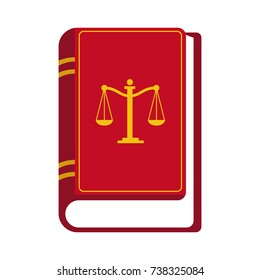 Red law book flat style vector on white background