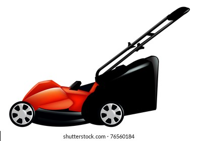 Red Lawn Mower, Isolated On White Background, Vector Illustration