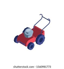 red lawn mower on white background vector illustration design