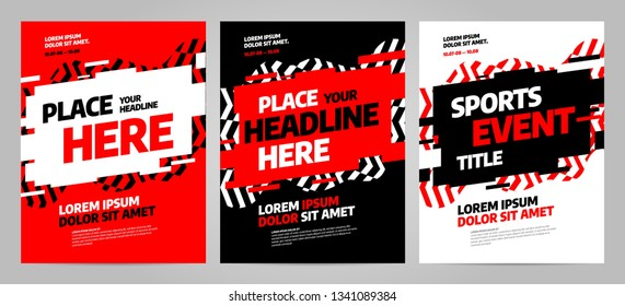 Red Layout design template for sport event, tournament or competition. Sports background.