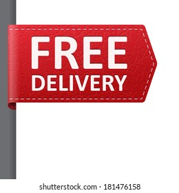 Red leather free delivery vector bookmark label. isolated from background. layered.