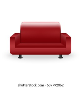 Red Leather Moder Sofa Vector Art