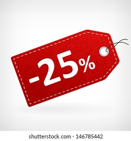 Red leather price vector labels twenty five percent sale off. isolated from background. layered.