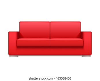 Red leather realistic sofa for modern living room interior vector illustration