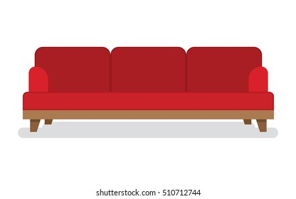 Red leather sofa for living room vector illustration