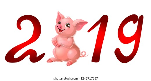 The red letter 2019 with lovely pink pig stands. A vector illustration in cartoon style isolated on white.
