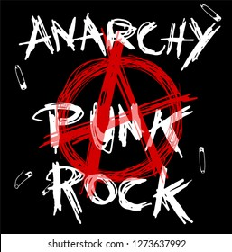 A red letter symbol of Anarchy with white Anarchy Punk Rock text on black background with safety pins. Vector hand drawn illustration.