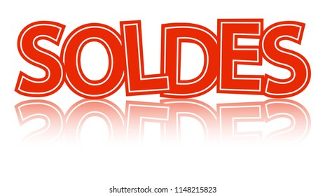 red letters SOLDES with reflection isolated on white background
