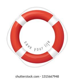 Red Life Buoy, Isolated On White Background.