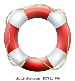 Red life buoy with rope. Isolated on white background. Rescue circle for quick help. EPS 10 vector file