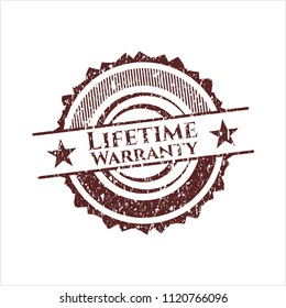 Red Life Time Warranty rubber seal with grunge texture