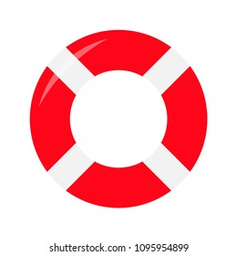 Red lifebuoy ring icon. Life buoy round circle for safety at sea ocean water. Flat deisgn. White background. Isolated. Vector illustration