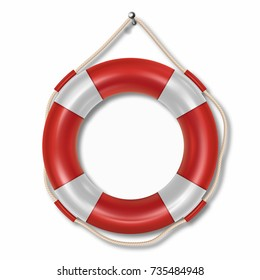 Red lifebuoy ring isolated on white background