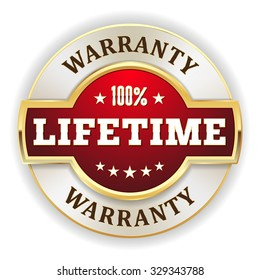 Red lifetime warranty badge with gold border on white background