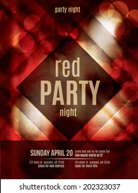 Red Light Effect party invitation flyer template