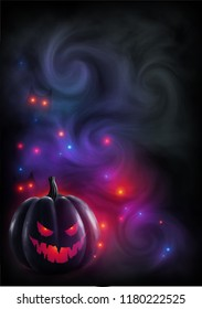 Red light evil face pumpkin on mystic fog and color lights background. Halloween poster or flyer magic backdrop.