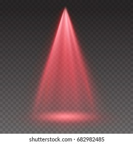 Red light scanner or laser effect. Glowing stage light ray isolated on transparent background. Vector bright scene spotlight. Shining theater projector red beam template for your creative design