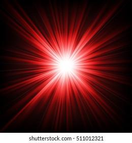 Red light shining from darkness Vector illustration