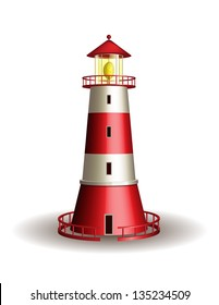 Red lighthouse isolated on white background. Vector illustration