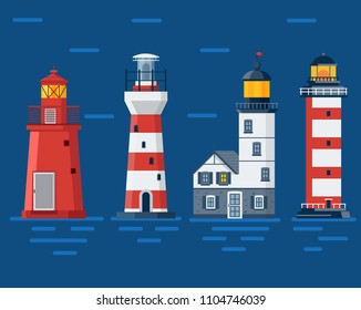 Red lighthouse set. Sea guiding light houses buildings. Pharos or beacon collection. Searchlight towers of different types in flat design.