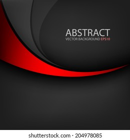 Red line curve on black background vector for text and message design