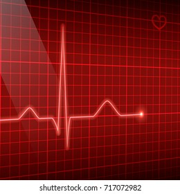 Red line heart rate on the screen in perspective. Vector electrocardiogram background.