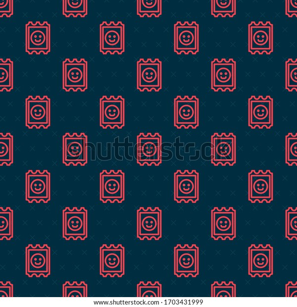 Red line LSD acid mark icon isolated seamless pattern on black background. Acid narcotic. Postmark. Postage stamp. Health danger.  Vector Illustration
