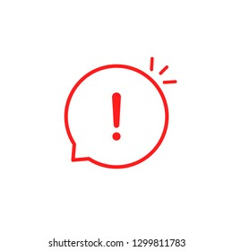 red linear attention icon like emphasis. concept of hazardous assess or urgent online message. flat stroke web style modern sms logotype graphic simple design infographic element isolated on white