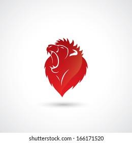 Red lion emblem - vector illustration