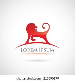 Red lion label - vector illustration