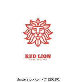 Red lion logo template design in outline style. Vector illustration.