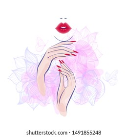 Red lips, hand with red manicure nails. Beauty Logo, nails art. Vector illustration, diadem flowers, butterflies, abstract flowers, spa salon, sign, symbol, nails studio. Watercolor background.