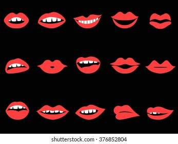 red lips icons set