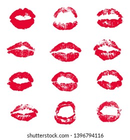 Red Lips Lipstick Kiss Print Set White background, Vector Illustration
