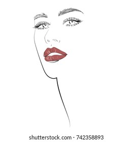 Red lips long lashes Beauty and makeup icon