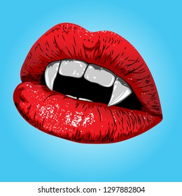 Red Lips, Vampire Mouth Helloween, Isolated Object, Vector Illustration
