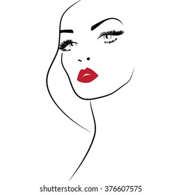 Red lips woman make up icon