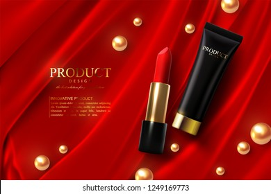 Red lipstick and black cream tube ads poster template. Premium cosmetic product. Packaging mockup design. Cosmetics on silk fabric background. 3d vector illustration. Makeup or visage concept