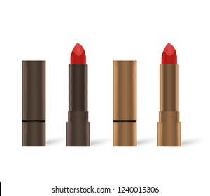 Red lipstick in bronze colored metal tube, mockup. Open and closed. Lip rouge isolated on white background, vector illustration.